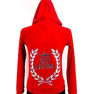 Juicy Couture Red Embellished Hooded Sweatshirt M
